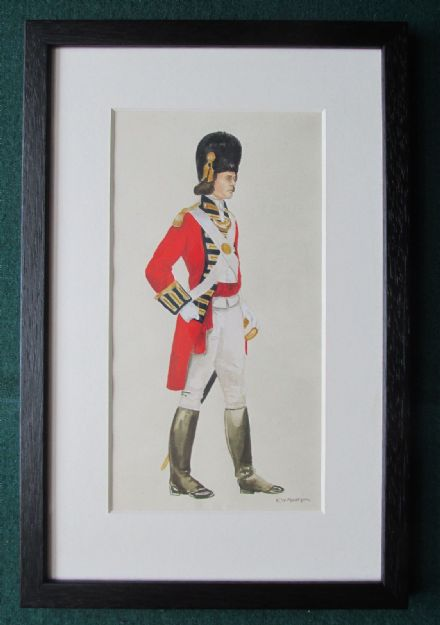 23rd Foot Royal Welch Fusiliers Officer Antique Signed Watercolour Military